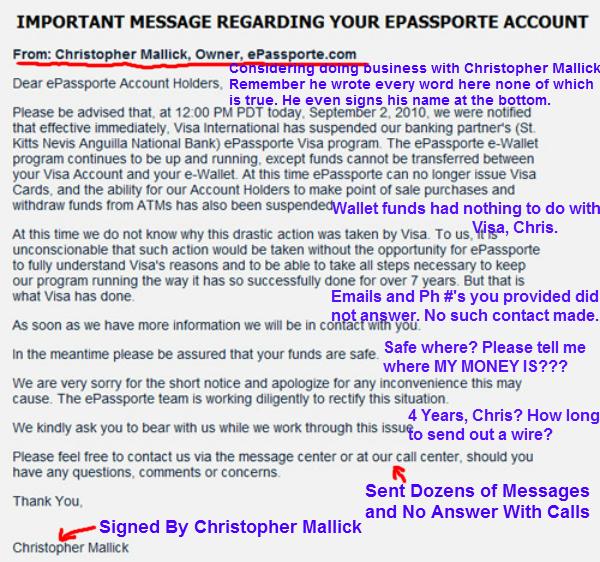 Christopher Mallick ePassporte Statement